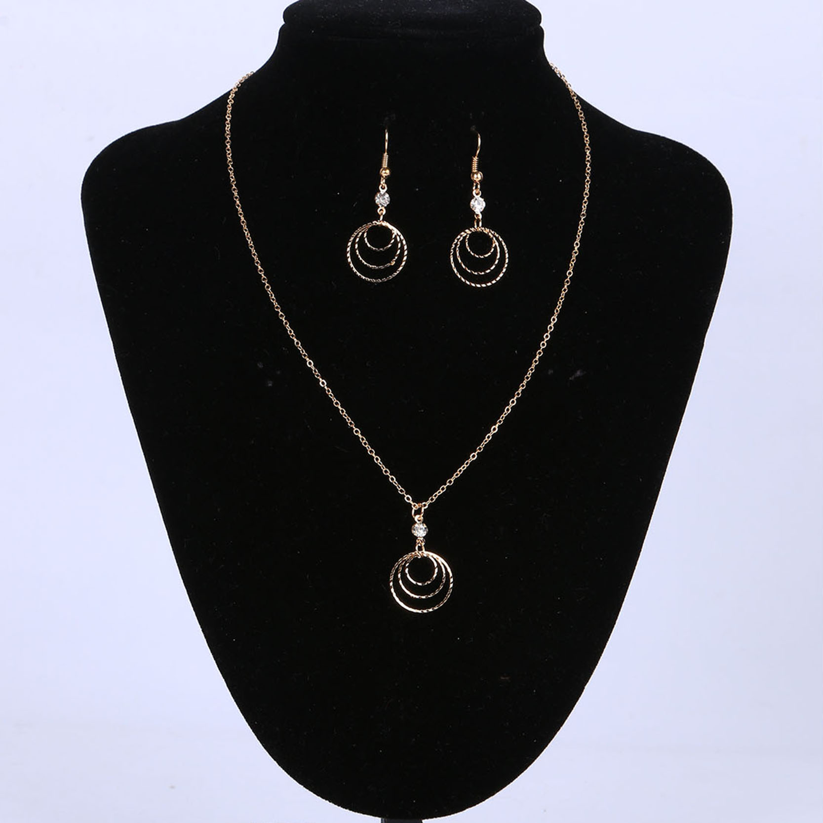 ᐂEarring and Necklace Jewelry Set Gold Color with Multi layer