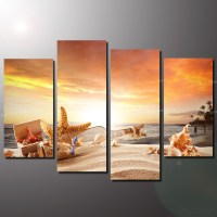 4 Panel Cheap Modern Paintings Sunny Beach Modern Wall Art