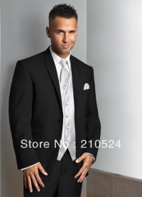 men black tuxedo jacket 2 pockets white vest jacket+vest ...