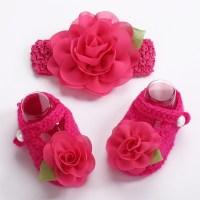 - Newborn photo props girls Crochet baby shoes Flower ...