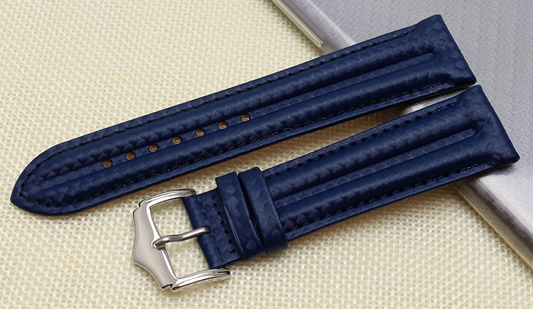 d4962e7c84d UYOUNG the quality of leather watch band 22 mm carbon fiber pattern belt  with a steel clip for men and women