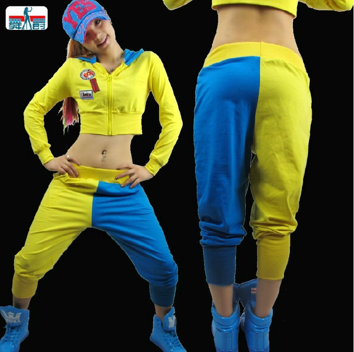 New Fashion Dance Hip Hop Short Top Female Jazz Costume Neon Performance Wear Sexy Costumes Ultra-short Sexy Sweatshirt Hoodies & Sweatshirts