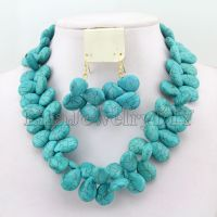 Fashion African Turquoise Beads Jewelry Sets Nigerian ...