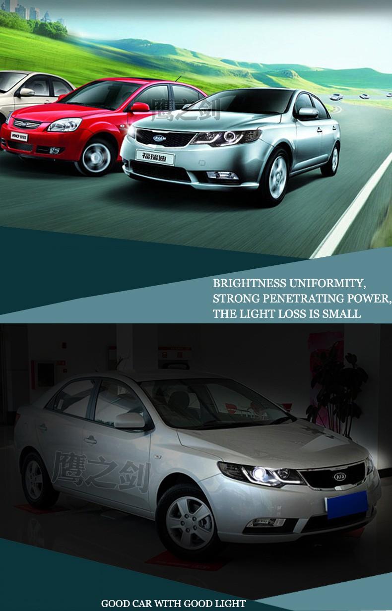 Free Shipping Car Styling Led Hid Rio Headlights Head Lamp Kia Forte Headlight Case For 2009 2013 Bi Xenon Lens Low Beam