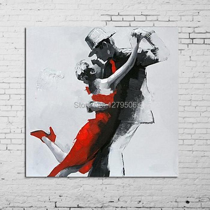 b9ed741da5 ᐃPintado à mão Abstract Wall Pictures Amantes da Dança Pintura A ...