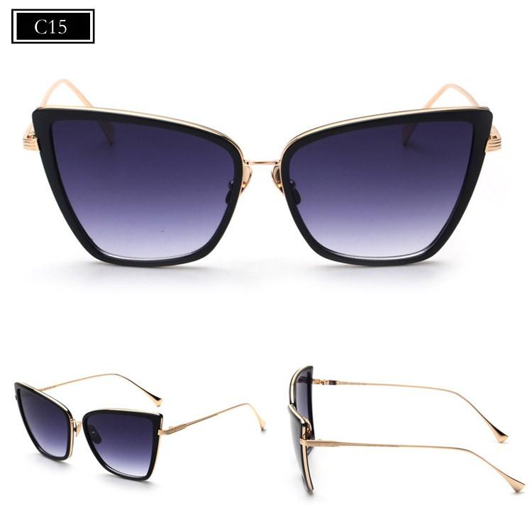 ⊹MENINA REAL Nova Moda Olho de Gato Mulheres óculos de Sol Marca de ... a871b40f8c