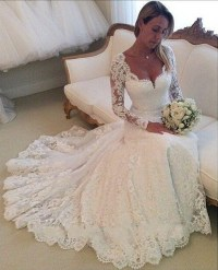 2015 Lace Wedding Dresses Long Sleeves Mermaid Wedding ...