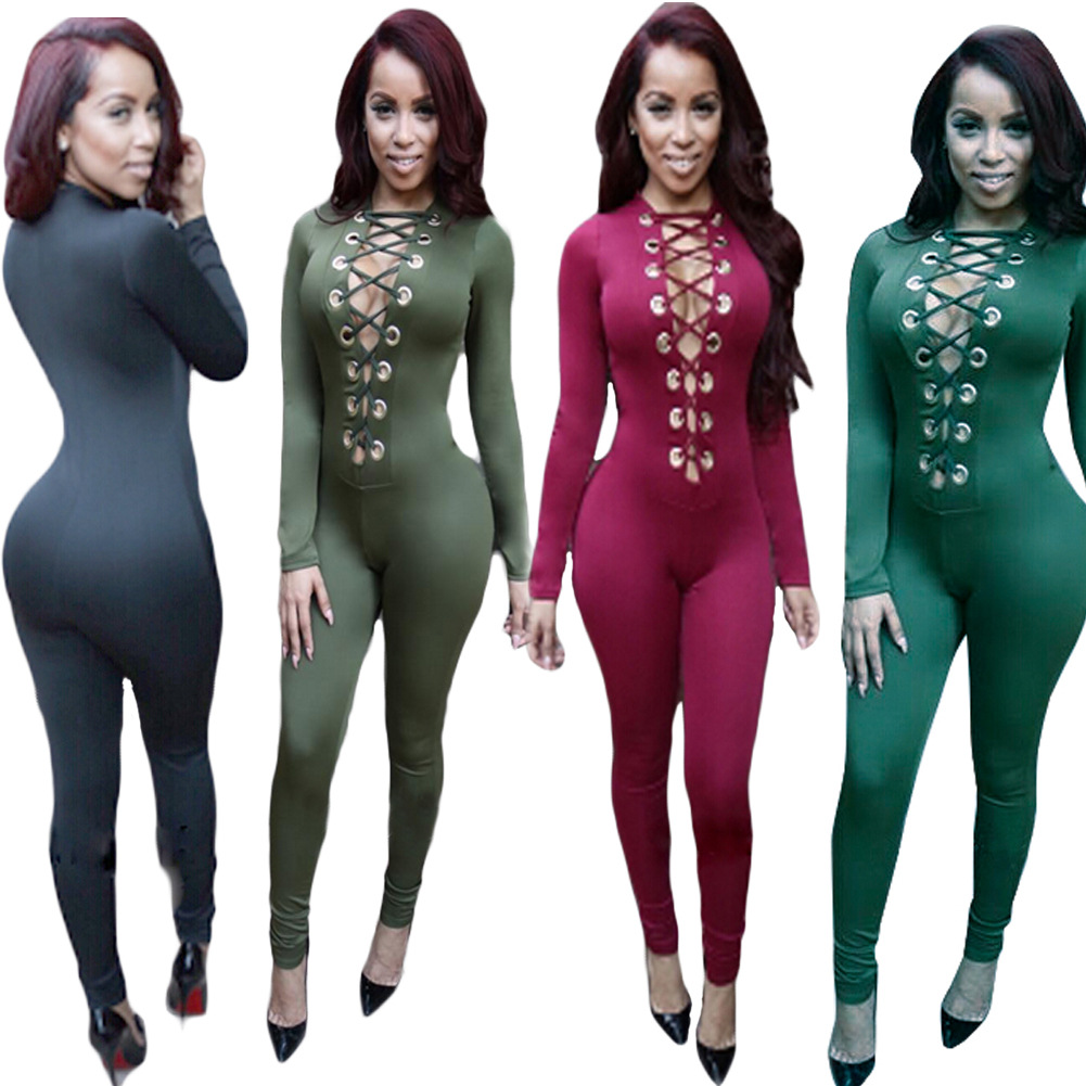 Womens Jumpsuits Sexy Bodycon Romper Bodysuits Deep V Neck 04w Power Amplifier With 5g37 Ic Zj30635