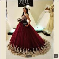 Popular White and Burgundy Wedding Gowns-Buy Cheap White ...