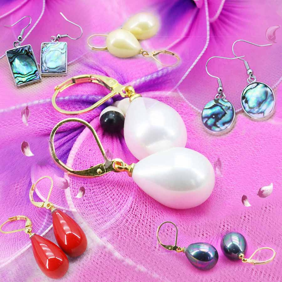 b83c8b1f8ada Moda Encaje joyería oro-color broche 8mm rojo Conchas perla cuello largo  Encaje regalos chica del cumpleaños del Partido de las mujeres regalo  joyería 18 ...