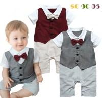 Baby Boy Rompers Gentlemen Look Baby Suit And Bow Tie ...