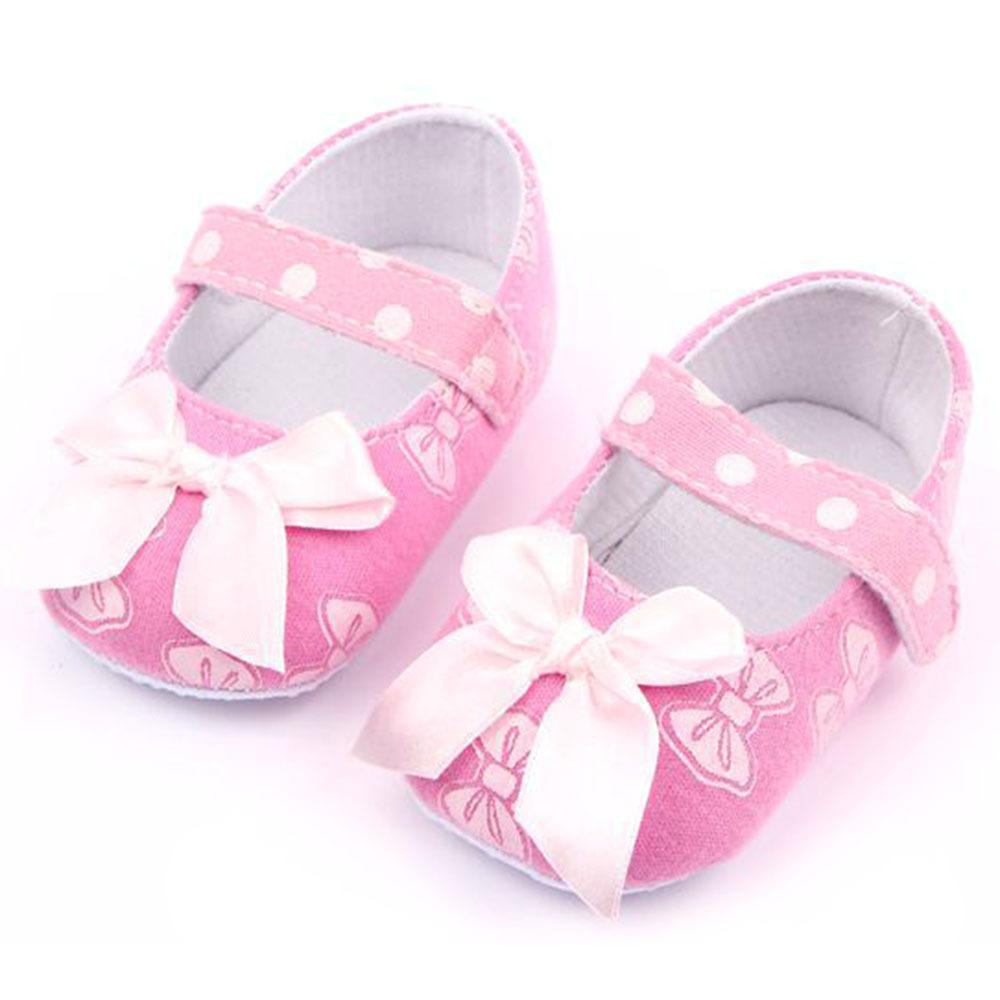 Baby Girls Kid Cute Pink Prewalker Soft Cotton Bowknot