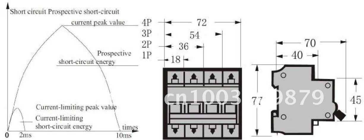3P 10A Transparent case Mini Circuit breaker MCB safety