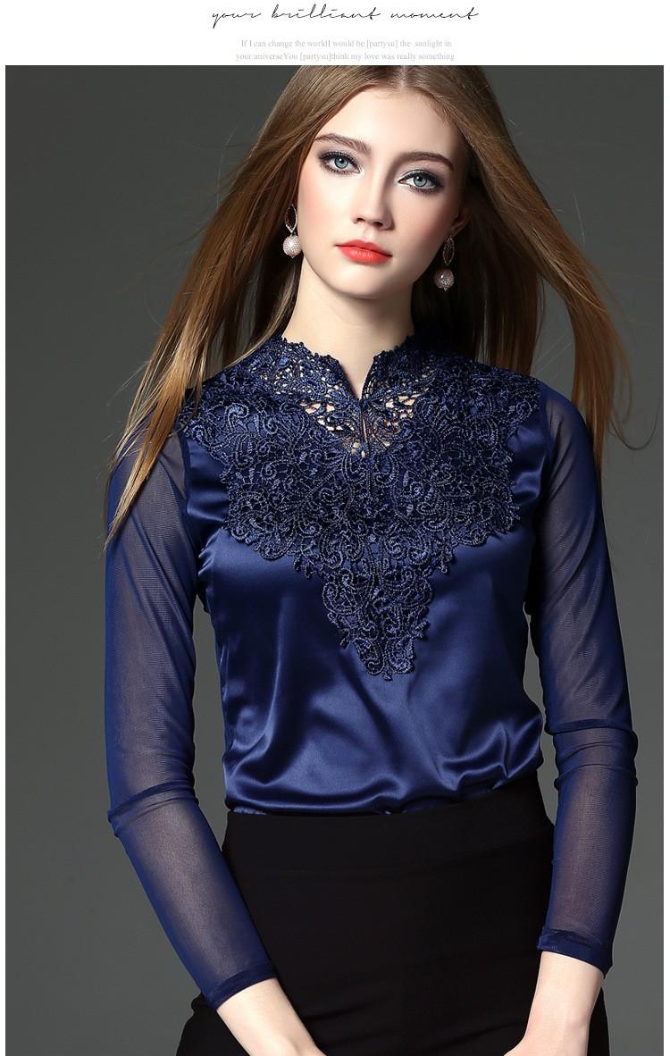 e858b4c236f4f ⑦2018 New Crochet Lace Up Women Blouses Top Long Sleeve Blue White ...