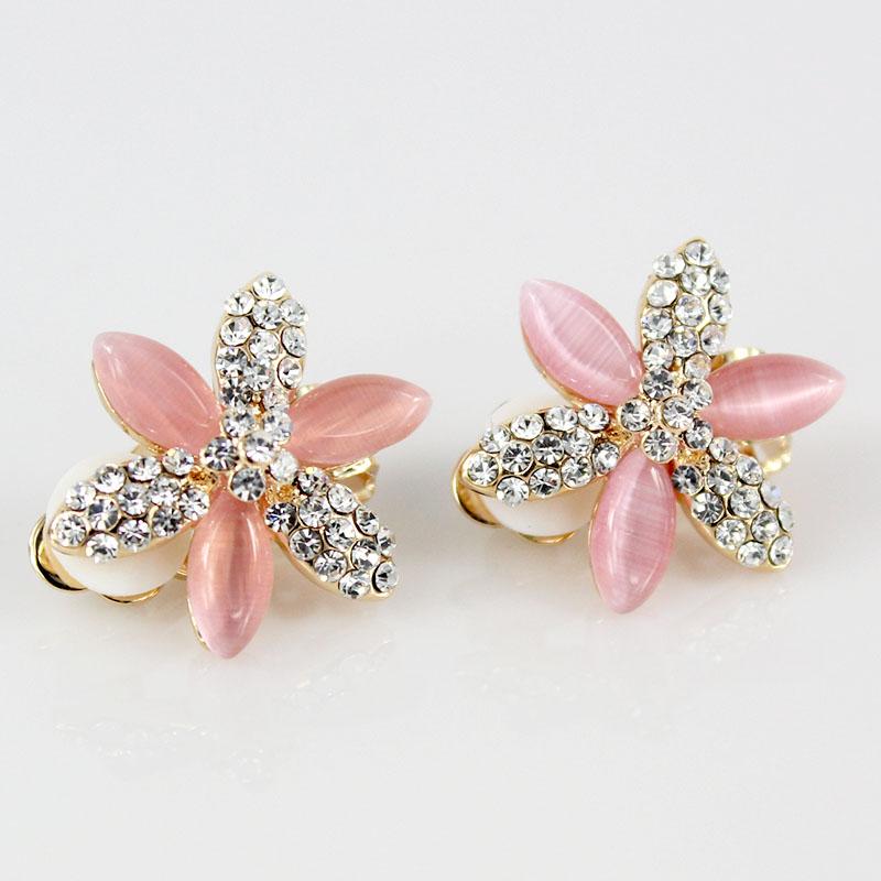 2013 Fashion crystal jewelry Pink Opal clip on earrings