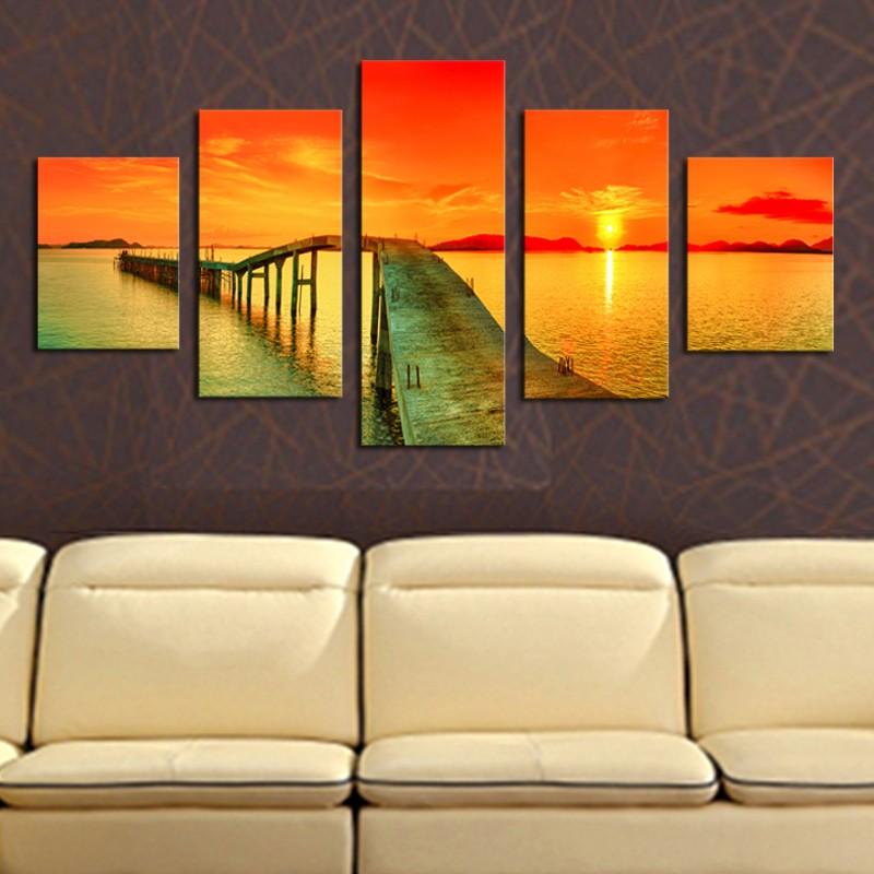 ▻Unframed 5 Panels Modern Sunset Bridge Seascape Picture Canvas ...