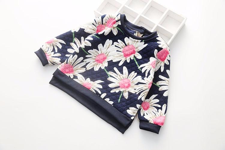 4168d1c41 Meninas do bebê Primavera Outono Blusas de Algodão Meninas Confortáveis  Camisolas Flor Bonito Floral Impresso Casual Roupas Da Moda