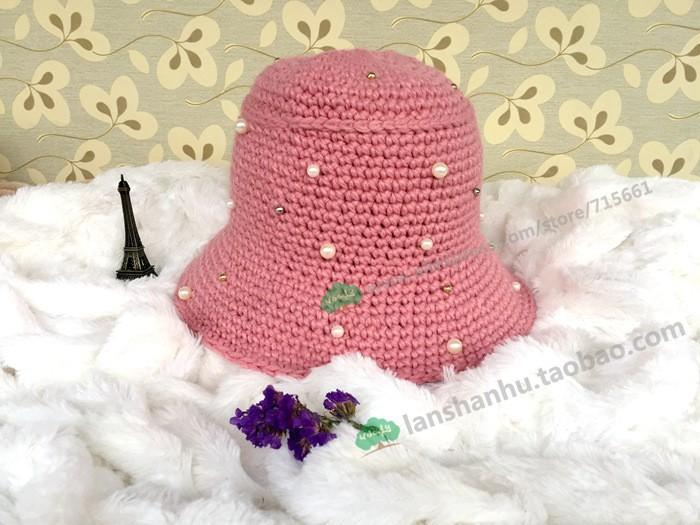⃝Femminile Coreano lampeggia autunno e inverno cappelli Cap piccola Perla  fiore signore maglia di lana tides adulto 2016 secchio casuale hip hop -  a313 0ddfc842e56d
