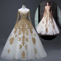 Muslim-Bridal-Wedding-Dresses-Real-Photo-Gold-White-Long ...
