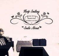 Keep Smiling Wall Art Quotes Removable Wall Stickers ...