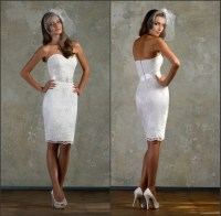 Hot Lace White Little Bridal Gown Sweetheart Short Fitted ...