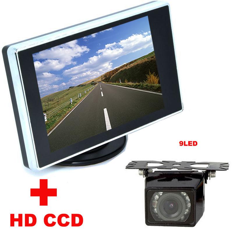 ⑤4.3 TFT LCD car Monitor + 9LED Car Rear view Camera HD CCD ...