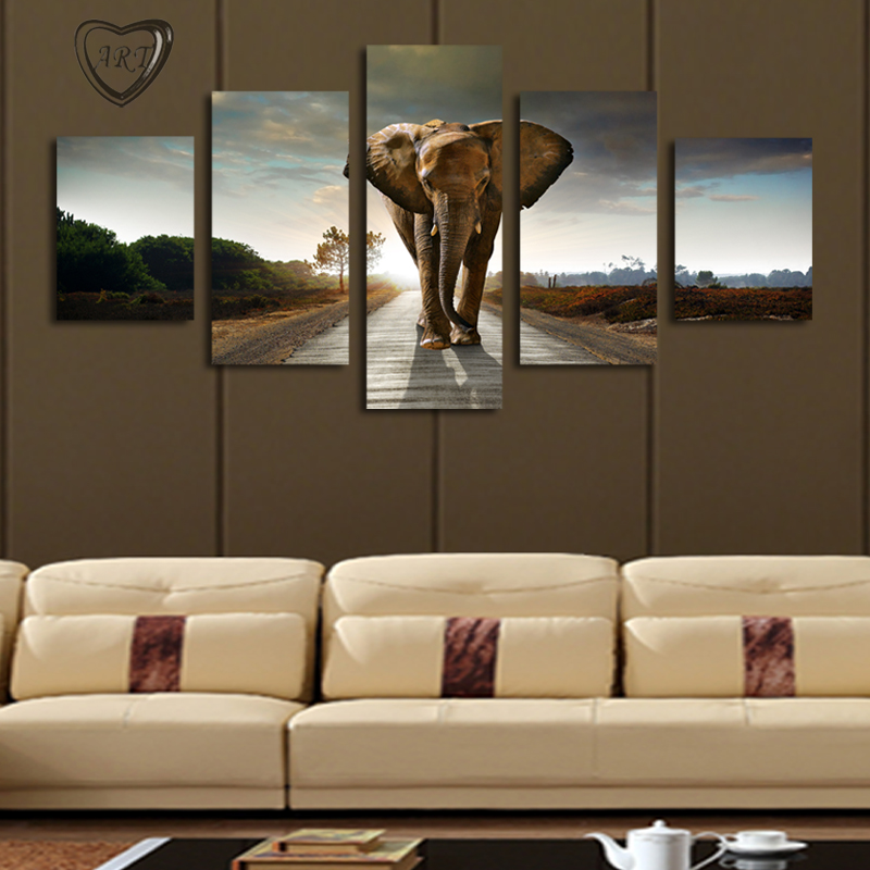 5 PcsNo Frame Elephant Painting Canvas Wall Art Picture