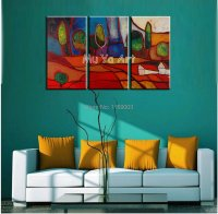 3 piece canvas wall art handmade abstract colorful ...