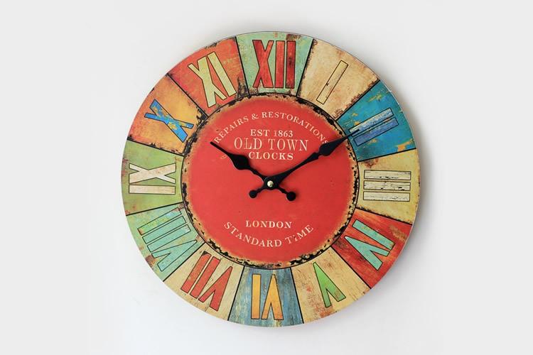1af7020661 Dia35cm moda colorido vintage grande decorativo moderno diseño antiguo  madera handmake Reloj de pared salón reloj