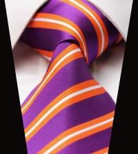 "TS2053P8 Purple Orange Stripe 100% Silk 3.4"" New Jacquard"
