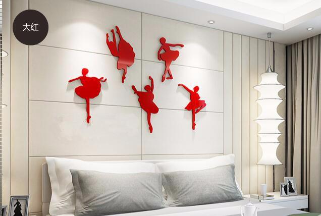 ᗔballet meisje acryl crystal driedimensionale muurstickers dancing