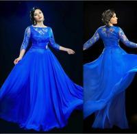 2016 New Arrival Plus Size Prom Dresses Blue Scoop Long ...