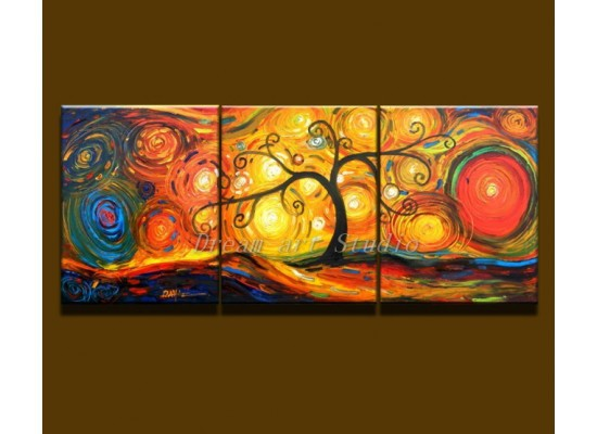 Abstract Hand Painted 3 Panel Canvas Wall Art Group