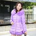 2016 winter female cotton short paragraph Slim Nagymaros collar hooded coat Korean fashion casual solid color