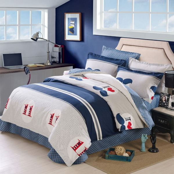 12868 Comforter Bedding Sets 4 Piece Bed Sheet Set 100 Cotton Queen Size-in