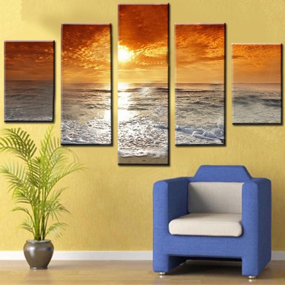 ̀ •́ Unframed 5pcs Sunset And Sea Wave Modern Seascpae Home Wall ...