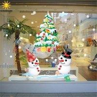 The New Shop Window Snowman Christmas Tree Christmas Wall ...