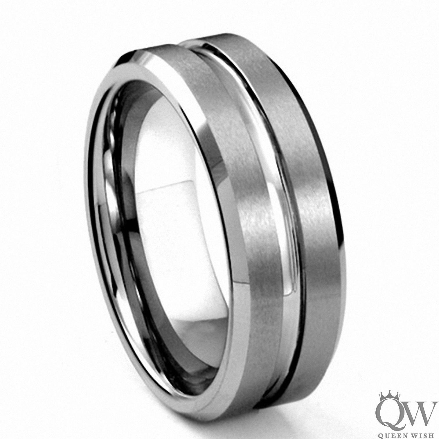Queenwish 8mm Mens Matte Finished Tungsten Carbide Wedding