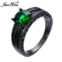 JUNXIN Hot Selling Round Men Women Emerald Ring Black Gold