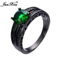 JUNXIN Hot Selling Round Men Women Emerald Ring Black Gold ...