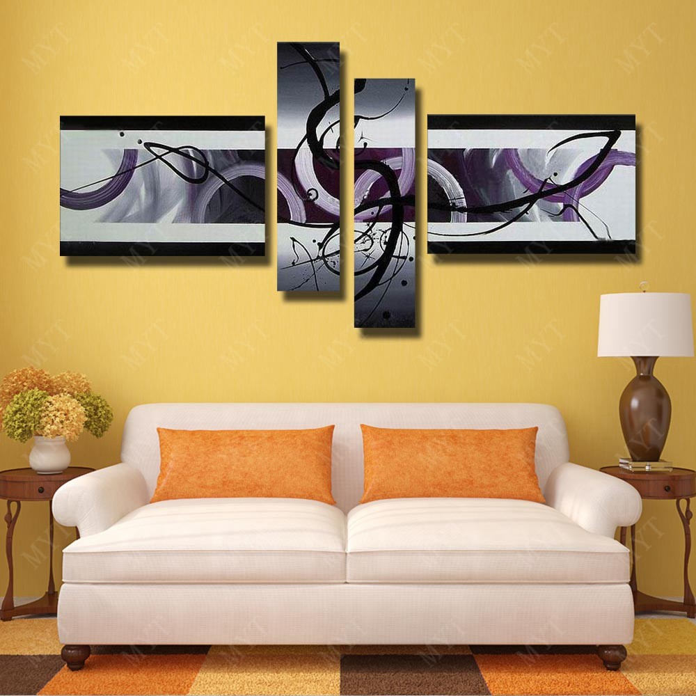④Paintbrush Modern Abstract Wall Pictures Hand Made Oil Painting on ...