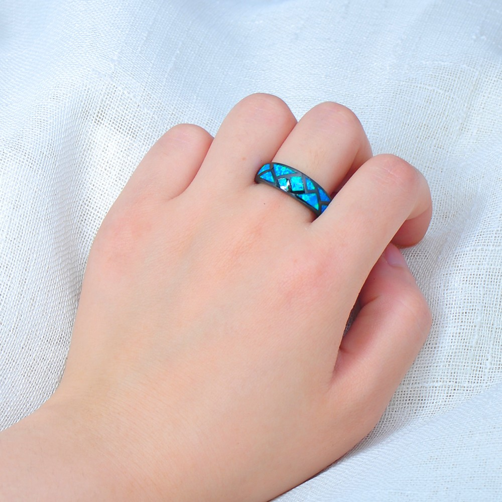 ⊱Women Men Geometric Style Blue Fire Opal Ring Black Gold Filled ...