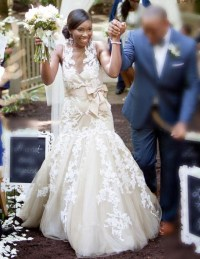 Champagne Applique Trumpet Wedding Dress African Style