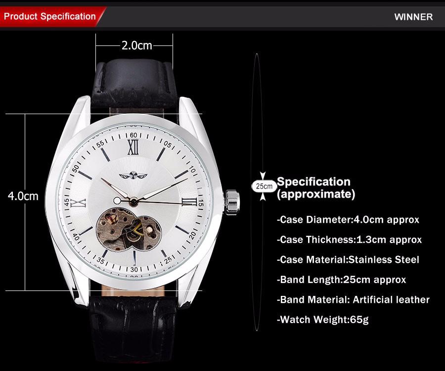 301ee384dce4 Los hombres de moda de Moda hombre relojes mecánicos correa de cuero casual  marca de los hombres del esqueleto automático de la caja de plata relojes  reloj ...