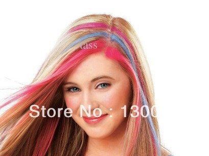 4 colors 1set temporary hair chalk tiza del pelo hot pink blue fuchsia neon green no retail
