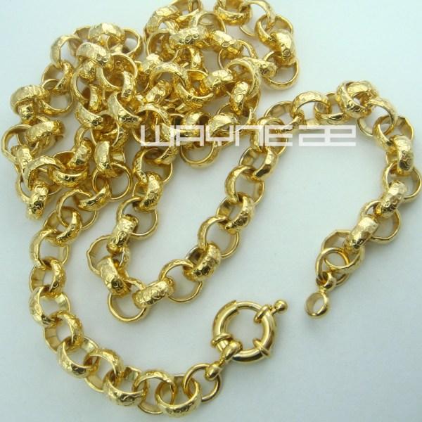 18k Gold Filled Belcher Bolt Ring Link Mens Womens Solid