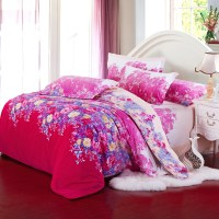 Cotton Red Comforter Sets Queen Round Bed Cover ...