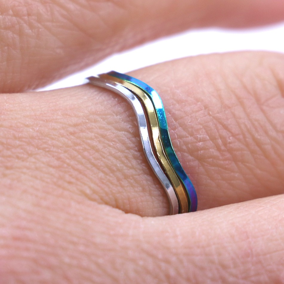 ₪Free Shipping 3pcs Set Colorful Gold Plating Copper Finger Rings ...