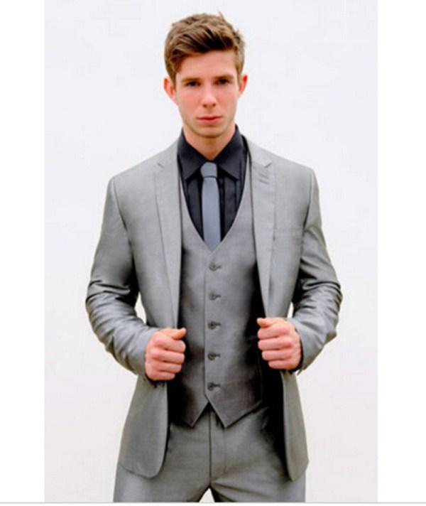 High Quality Mens Tuxedo Silver Grey Slim Fit Suit Wedding