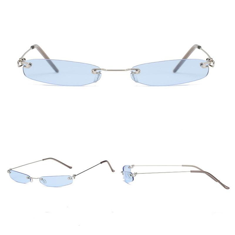 6f88b72fcd Trend 2018 Luxury Rimless Elegant Sun Glasses Female Mini Small Brand  Designer Square Sunglasses Women Blue Yellow Glasses Men